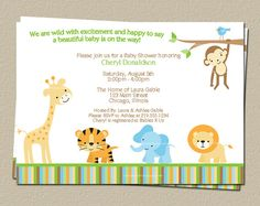 Jungle Baby Shower Invitation,  Safari Theme Invite, Print at Home, DIY Yourself, Fast delivery, JPEG and PDF
