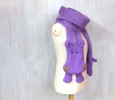 Purple hippo — wool very long scarf, animal scarf, violet purple shawl, wool scarves, original, funny scarf, winter gift - pinned by pin4etsy.com