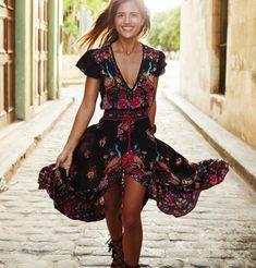 LOPILY High Value Boho Dress Midi Dress Crew Neck Women Dresses Daytime Casual Pockets Floral Plus Size Dresses