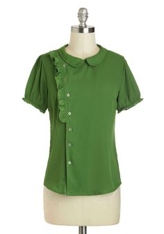 Fern Your Keep Top - Green, Solid, Buttons, Ruffles, Short Sleeves, Mid-length, Peter Pan Collar, Work, Collared, Vintage Inspired, 60s