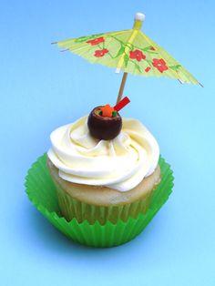 Tropical Coconut Drinks Beach/Luau Cupcakes using Malt Balls
