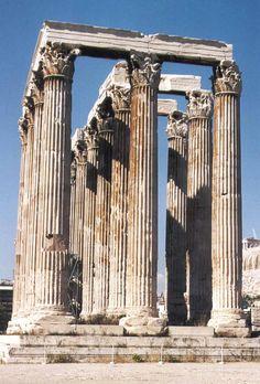 Olympeion Tempel of Zeus, Athens. Monumental Architecture, Classical Architecture, Ancient Architecture, Ancient Rome, Ancient Greece, Athena Aesthetic, Greek Art, Roman Empire, Romans