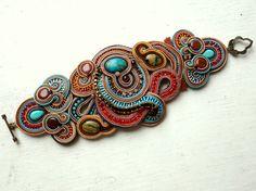 Soutache bracelet COLOR Howlite Jasper Boho Ethno Unique Elegant Glamour!