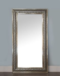 Moroccan White Metal Etched Mirror