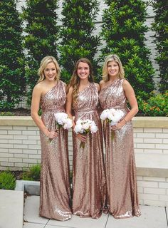 A-Line One Shoulder Long Rose Gold Sequined Bridesmaid Dress