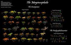 The Marginocephalia: 5 Families, 111 Genera (89 Ceratopsians, 22 Pachycephalosaurians)