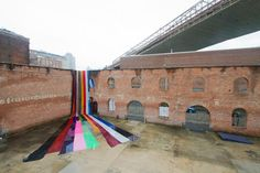 """Amanda Browder. Large-scale outdoor fabric installations """"Hello Niagra,"""" Brooklyn, 2012 (pictured, photo by David B. Smith)"""