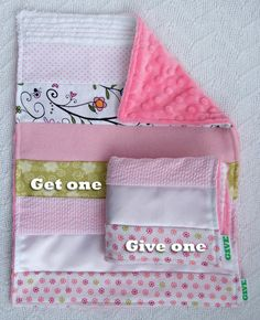 Baby Girl Sensory Security Blanket Lovey - delicate flowers - Get One, Give One to babies in Kenya, Africa, $30.00