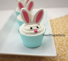Recipes for Easter - cute bunny cupcakes #Easter #recipes
