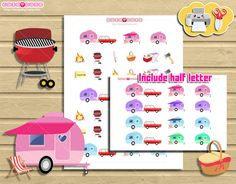 Camping VR Camper Kawaii Printable Planner stickers