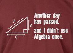 Funny Math T-Shirt Another Day Passed and I Didn't Use Algebra T-Shirt Screen Printed T-Shirt Tee Shirt T Shirt Mens Ladies Womens on Etsy, $14.99