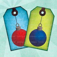 Printable Tags CHRISTMAS BAUBLES - no. 0090, $3.99 :: Print your own gift tags! Pretty Christmas baubles - original digital art by Rowan Tree.