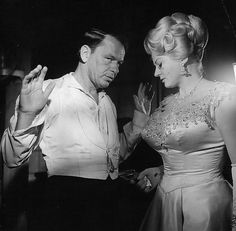 Frank Sinatra and Anita Ekberg on the set of 4 For Texas, 1963, directed by Robert Aldrich.