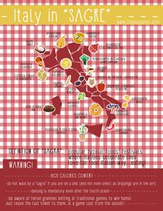 °Italy in a map° Find your local food festival and be ready for Italian SAGRA experience!  Graphic illusttration map Italia-delle-sagre-popular-festival-in-italy-food-festival-tipical-food-festival3