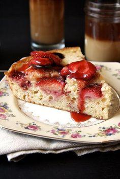 Roasted Strawberry Skillet Cake @joythebaker