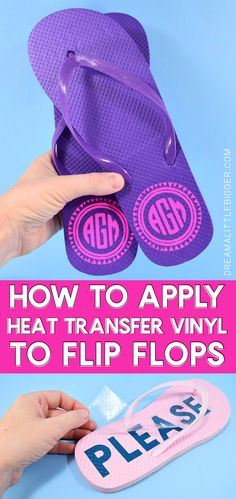 Great for Silhouette or Cricut and Vinyl! Dollar bin flip flops are so easy to personalize with a little HTV. Monograms, cheeky sayings, images, there are no rules to making your sandals uniquely you! Personalized Flip Flops, Personalized Items, Shilouette Cameo, Cricut Tutorials, Silhouette Cameo Projects, Silhouette Studio, Vinyl Crafts, Htv Vinyl Ideas, Wood Crafts