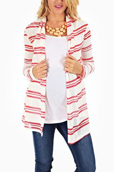 White-Red-Striped-Knit-Maternity-Cardigan