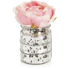 Wilko Pink Peonies in Silver Vase (4.990 CLP) ❤ liked on Polyvore featuring home, home decor, floral decor, decor, fillers, flowers, flowers and plants, pink home decor, outside home decor and silver home accessories