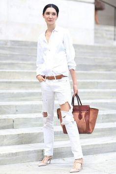 straight : distressed : white jeans : purse :