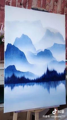 Small Canvas Art, Diy Canvas Art, Acrylic Painting Canvas, 3 Canvas Paintings, 3 Piece Painting, Acrylic Art, Abstract Paintings, Mountains Watercolor, Watercolor Scenery