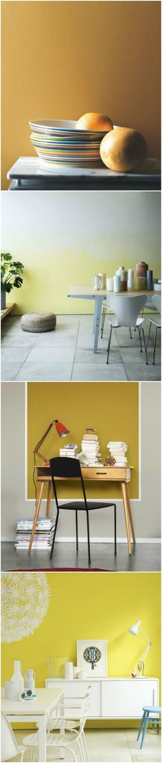 Whichever hue you opt for, yellow always brings a feeling of optimism. For a modern, uncomplicated scheme, team with white and opt for uncluttered furnishings in a space with lots of natural light. (Photos: Benjamin Moore, Crown, Dulux, Little Greene). Find more paint and colour ideas at housebeautiful.co.uk