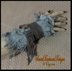 POST APOCALYPTIC Wrist Cuff Mad Max Fallout Army Green Tattered Industrial Steampunk Leather  Apocalyptic Clothing by SweetDarknessDesigns by SweetDarknessDesigns on Etsy