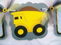 Dump truck baby shower banner its a boy by NancysBannerBoutique, $30.00