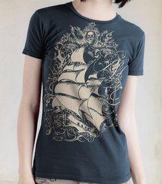 CLEARANCE SALE Women's  T-shirt  Ship T-shirt Indigo Blue Old-World Sailing Ship Pirate Ship. $11.00, via Etsy.