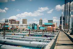 Walk across Mandela Bridge - City scape over Johannesburg from the bridge