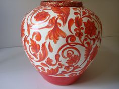 large red on orange italian vase