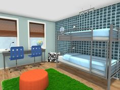 3D floor plan for a kids bedroom with bunk beds and study area in bright colored decor.  Need to update your bedroom? Start your re-design now with RoomSketcher Home Designer- it's easy, fun & free!  http://planner.roomsketcher.com/?ctxt=rs_com  #bedroom #floorplan #redecorate