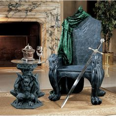 This dragon throne and matching gargoyle table will go nicely next to the fireplace