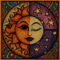 Celestial Tattoos and Meanings - Celestial Tattoos and Meanings You are in the right place about Celestial Tattoos and Meanin - Moon And Sun Painting, Celestial Tattoo, Sun Moon Stars, Sun Art, Hippie Art, Mexican Folk Art, Rock Art, Painted Rocks, Fantasy Art