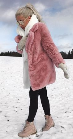 e55d971c84441c #winter #outfits pink fur coat and black jeans with brown work boots outfit  Pink