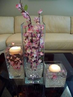 I love these as center pieces. I'm pretty sure I've seen everything pictured at the dollar store.
