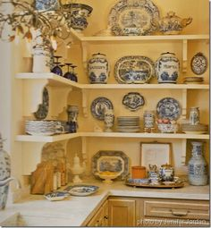 An open-shelving kitchen is becoming more and more popular. We have hunted every architectural emporium around for corbels for the store to display the Spode Woodland series .. wait til you see it!