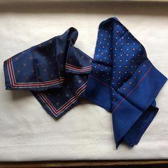 Vintage silk pocket squares 2 gents top pocket squares