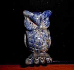 Rich Blue SODALITE CARVED OWL*Vintage Carving by MOUNTAINPOODLE on Etsy