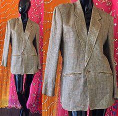 Gianfranco Ferre Saks Fifth Avenue lino seda chaqueta Vintage años 80 Blazer