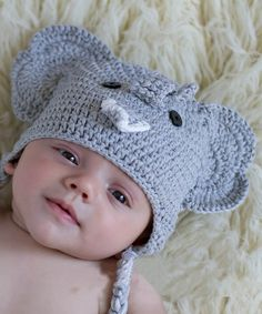 b66e09a0a7b Look at this Gray Elephant Crochet Earflap Beanie on  zulily today! Newborn  Beanie