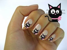Black cat nails chic Very Chic Mod Black Cat Pink Gift Bow Nail Art Waterslide Water Decals Miniature - Bow Nail Art, Butterfly Nail Art, Vintage Rose Nails, Grow Long Nails, Light Nail Polish, Hello Kitty Nails, Water Nails, Nail Sizes, Healthy Nails
