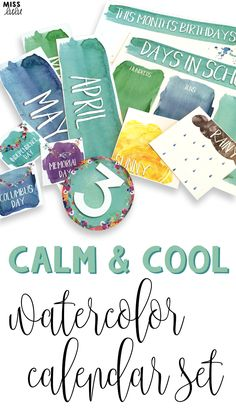 This gorgeous watercolor calendar set will look amazing in your classroom! With cool colors and white text, this calming calendar set will be the highlight of your classroom decor!