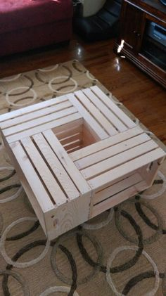 Four Wine Crate Coffee Table by BriansCrateShop on Etsy Wooden Pallet Furniture, Wooden Pallets, Diy Furniture, Garden Furniture, Bedroom Furniture, Pallet Chair, Pallet Tables, Business Furniture, Furniture Plans