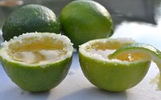 Margarita shots served in a lime