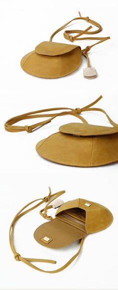 Leather Crossbody Bag-Yellow Small Purse for Women от KiliDesign