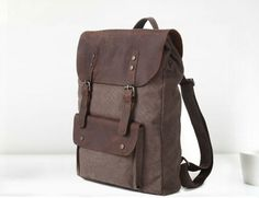 Leather Canvas Backpack Leather Canvas Bag by DuDuLeather Canvas Backpack, Backpack Bags, Shops, Unisex, Leather Briefcase, Cotton Bag, Backpacker, Leather Working, Cow Leather
