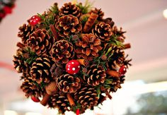 Christmas decoration. Use large styrofoam ball cove it with pine cones cinnamon sticks greens, large berry clusters and tiny bows.