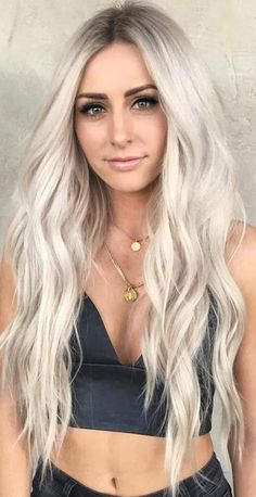 Hair Color 2018 Long Platinum Blonde Hair Wavy ❤️ Platinum blonde is one of the biggest trends in the fashion industry, and not only nowadays, but it has also been popular for ages. That is why today we are going to talk about all the trendiest blo. Ashy Blonde Hair, White Blonde Hair, Long Blond Hair, White Blonde Highlights, Beautiful Blonde Hair, Makeup With Blonde Hair, Blonde Hair For Summer, Grown Out Highlights, Long Hair Cuts Straight