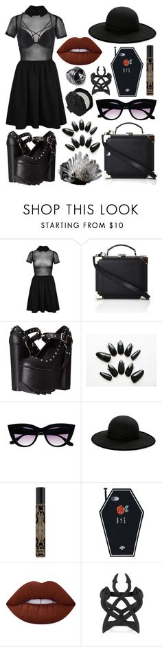 """""""Another birthday outfit"""" by kiarametalhead ❤ liked on Polyvore featuring La Senza, Aspinal of London, Demonia, Retrò, Betmar, Kat Von D, Anna Sui and Lime Crime"""