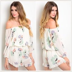 beautiful floral print romper med Adorable off shoulder floral print romper   medium    woven sheer pinstripe over solid lining I still recommend a sticky bra  excellent quality  size medium bust 36-38 elastic waist 30-32 hips 34-36   girth 28  Length from top to bottom 31  NWOT  100% polyester Pants Jumpsuits & Rompers